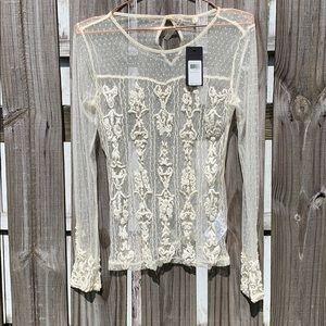 NWT Guess Cream Embroidered Top - S